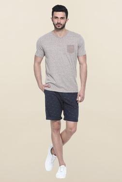Basics Brown Short Sleeves Solid T-Shirt