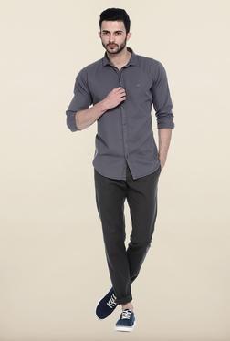 Basics Grey Solid Slim Fit Casual Shirt