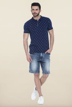 Basics Blue Solid Casual Shorts