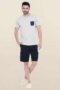 Basics Beige Solid Slim Fit T-Shirt