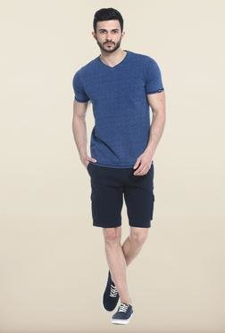 Basics Blue Short Sleeves Printed T-Shirt