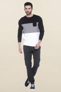 Basics Black & White Full Sleeves Printed T-Shirt
