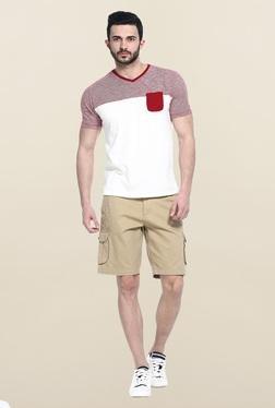 Basics Khaki Solid Casual Shorts