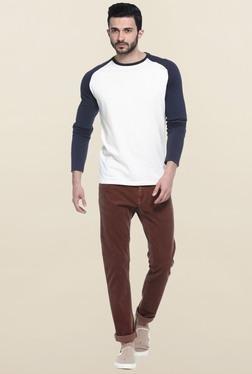 Basics White Full Sleeves Printed T-Shirt