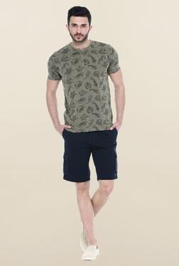 Basics Navy Solid Casual Shorts