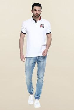 Basics White Solid Polo T-Shirt