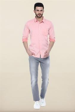 Basics Pink Solid Casual Shirt