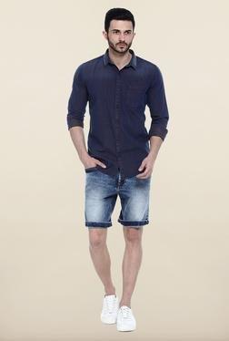 Basics Navy Cotton Casual Shirt