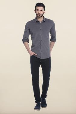 Basics Black Solid Cotton Casual Shirt