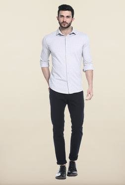 Basics Light Grey Printed Slim Fit Casual Shirt