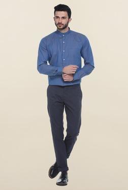 Basics Blue Printed Mandarin Collar Shirt