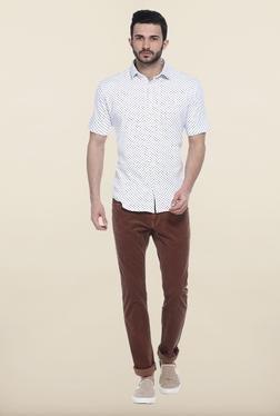 Basics White Printed Cotton Casual Shirt