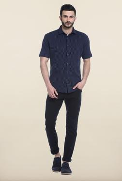 Basics Navy Cotton Casual Shirt - Mp000000000081648