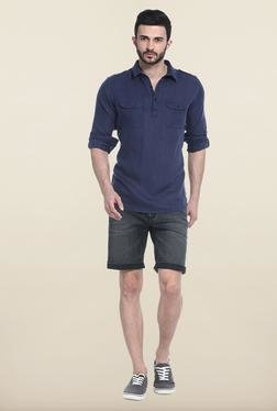 Basics Navy Solid Casual Shirt