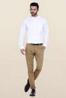 Basics White Slim Fit Cotton Mandarin Collar Shirt