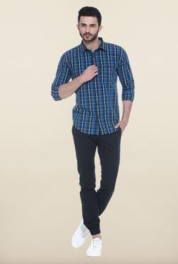 Basics Blue And White Checks Casual Shirt - Mp000000000081766