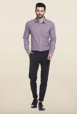 Basics Brown Solid Straight Fit Cotton Chinos