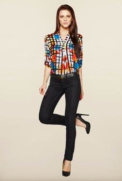 AND Black Printed Cotton Jeans
