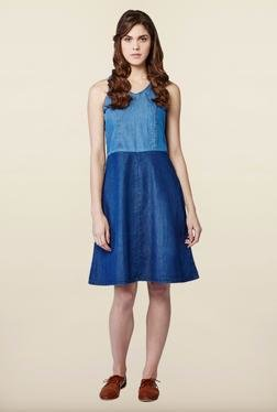 AND Blue Solid Casual Dress