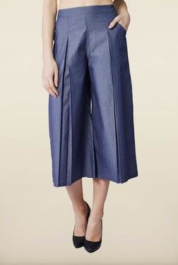 AND Dark Blue Solid Cotton Culottes