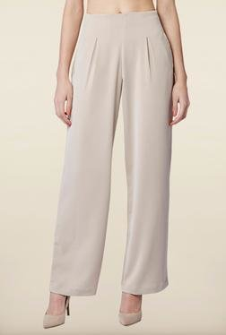 AND Beige Solid Casual Pant