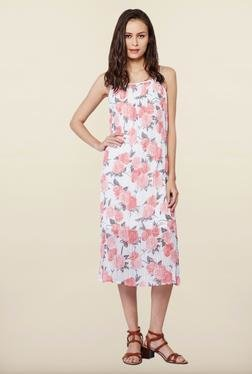 AND White Floral Print Casual Dress