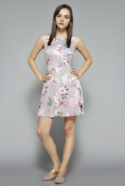 Nuon by Westside Grey Floral Skater Dress