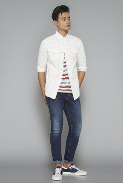 Nuon By Westside White Denim Casual Shirt