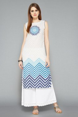Utsa Blue Zig-Zag Printed Long Kurta