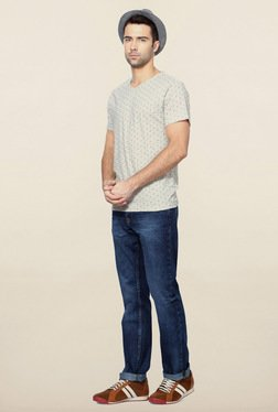 Peter England Grey Geometric Print V Neck T-Shirt
