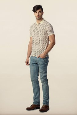 Peter England Cream Floral Printed Polo T-Shirt