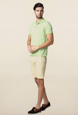 Peter England Green Floral Printed Polo T-Shirt