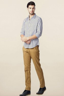 Peter England Blue Striped Casual Slim Fit Shirt
