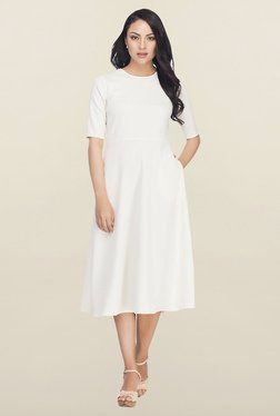 Femella White Fit & Flare Midi Dress