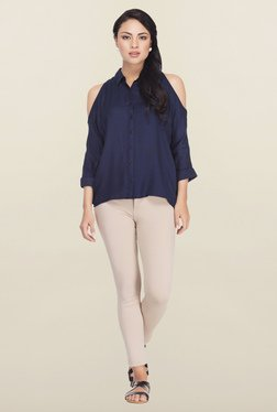 Femella Navy Solid Casual Shirt