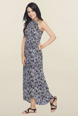 Femella Navy Printed High Low Maxi Dress