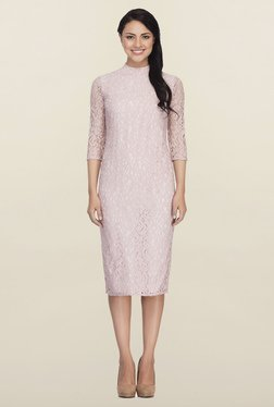 Femella Blush Pink Lace Midi Dress