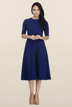 Femella Blue Fit & Flare Midi Dress