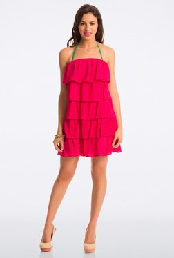 PrettySecrets Cherry Lace Strapless Flounce Dress