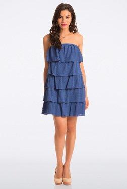 PrettySecrets Cobalt Lace Cotton Strapless Flounce Dress