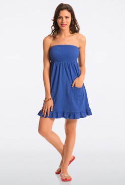 PrettySecrets Cobalt Solid Strapless Dress