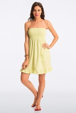 PrettySecrets Lime Solid Strapless Dress