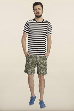 Jack & Jones White And Black Striped Crew T-Shirt