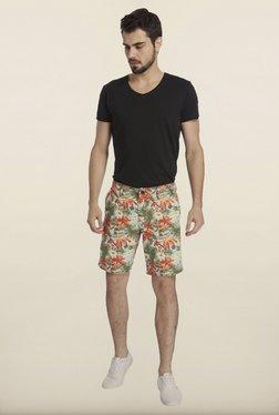 Jack & Jones Aqua And Red Floral Printed Shorts