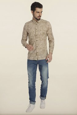 Jack & Jones Beige Tropical Print Casual Shirt