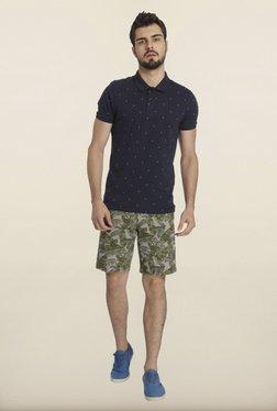 Jack & Jones Navy Dot Print Polo T-Shirt