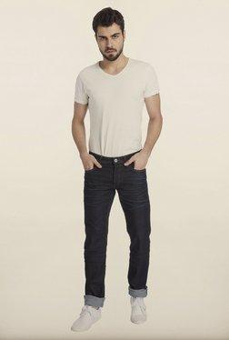 Jack & Jones Navy Solid Cotton Jeans