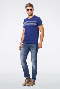 Allen Solly Blue Geometric Print T-Shirt