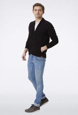 Peter England Black Front Zip Sweater