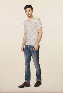 Peter England Beige Printed Henley T-Shirt